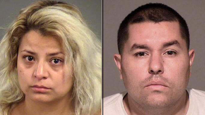 Mugshots of parents who were arrested when their 5 year old tests positive for cocaine